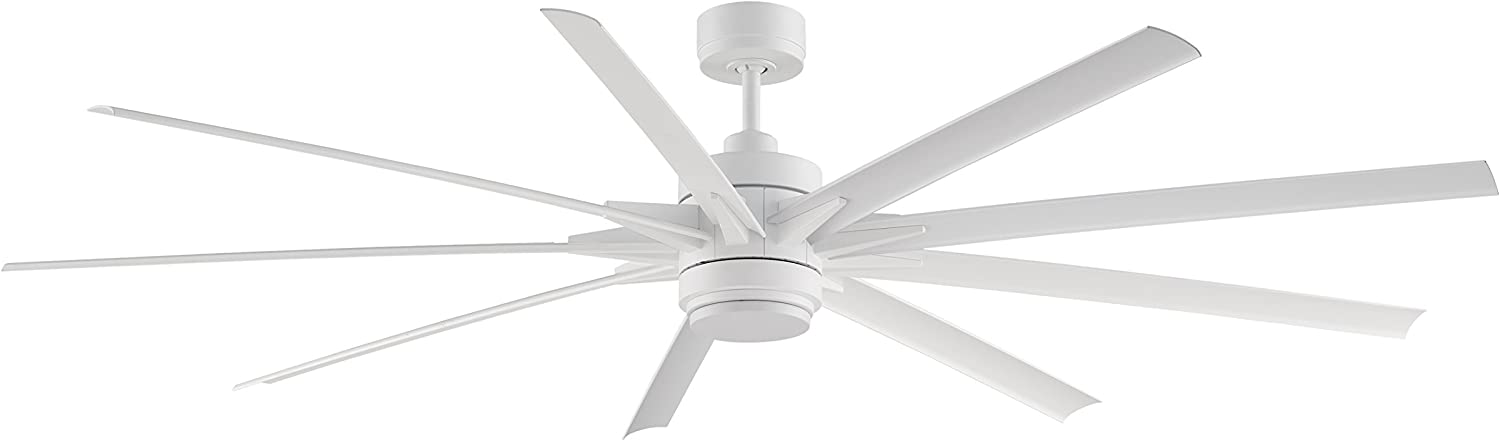 Fanimation Odyn 84 Inch Matte White With Matte White Blades With Led Light Kit And Remote Wet Rated Fpd8149mww Amazon Com