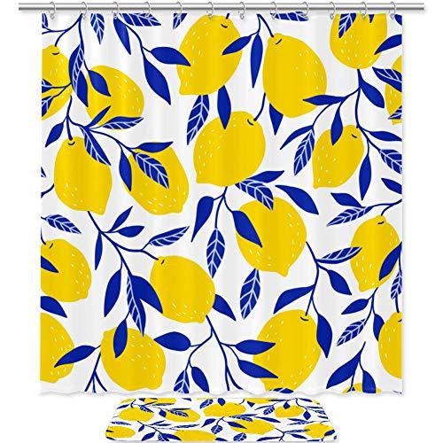 TIZORAX Zitronen Bad Duschvorhang Set mit rutschfesten Bad Teppichen Bodenmatte Home Decoration