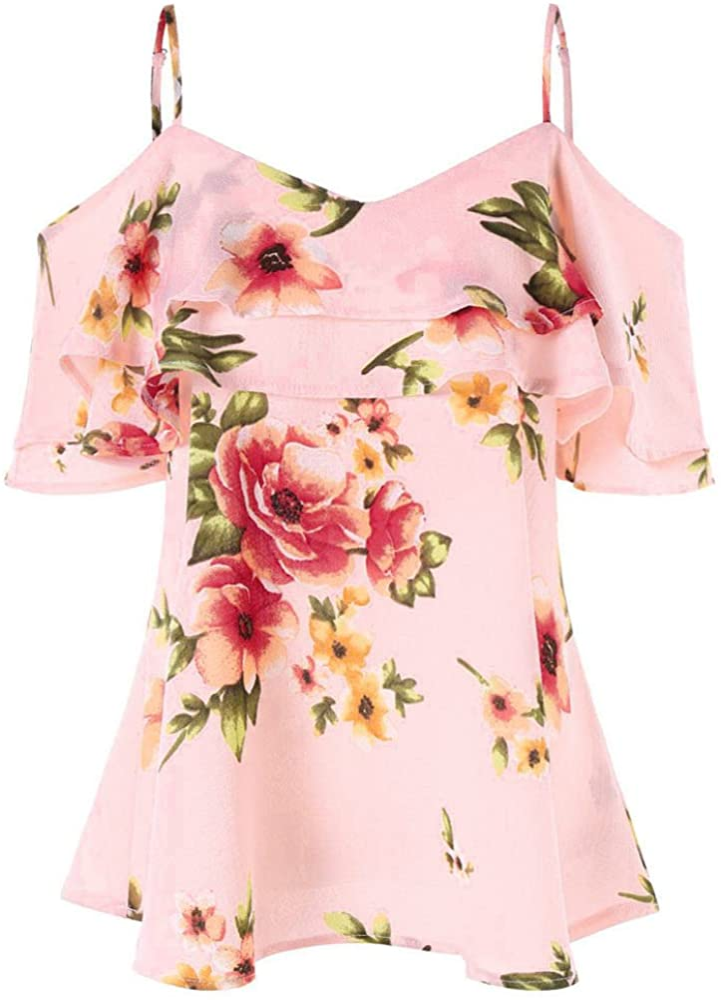 Shirts for Women Womens 2021 model Summer Tops Shoulder Regular store Floral Off T-Shirt