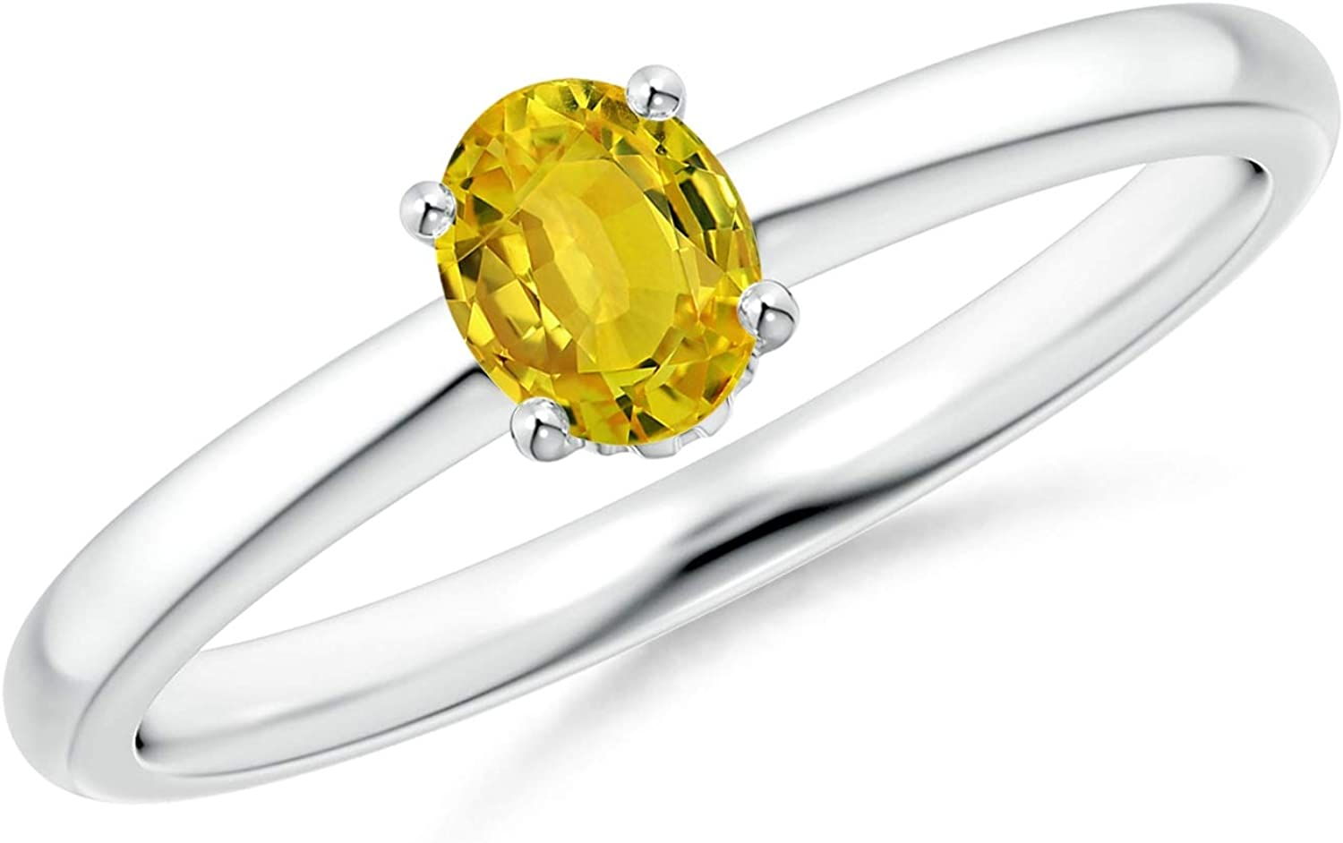 Classic Solitaire Oval Yellow Sapphire Promise Ring (5x4mm Yellow Sapphire)