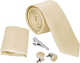 Bundle Monster Mens Skinny Tie Package, Slim Thin Necktie Cuff link 4pc Set