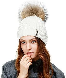 Crochet Knit Fur Hat with Real Large Fur Pompom Beanie Hats Winter Ski Cap