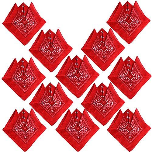 QUMAO Pañuelos Bandanas de Modelo de Paisley para Cuello/Cabeza Multicolor Múltiple para Mujer y Hombre (Pack de 12; Rojo)