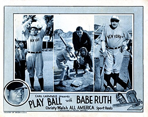 Posterazzi EVCMCDPLBAEC002HLARGE Play Ball Babe Ruth 1920 Movie Poster Masterprint, 28 x 22