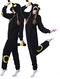 Adult Umbreon Onesie Pajamas Cosplay Animal Homewear Sleepwear Jumpsuit Costume for Women Men