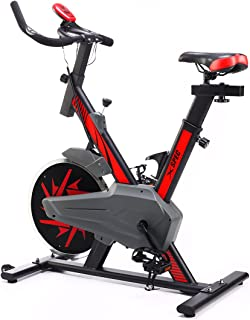 Xspec Pro Stationary Upright Exercise Bike Indoor Cycling Bicycle, Blue/Red, 25 LB Flywheel