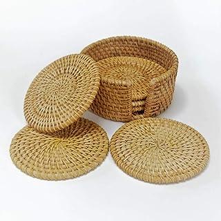 6 Round Woven Wicker Rattan Coasters in Box