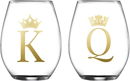 Fifth Avenue Crystal 229452-2ST King//Queen Stemless Goblets 3.7x4.9 Gold
