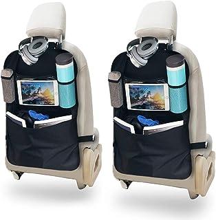 MEIZI Rückenlehnenschutz Auto, Rückenlehnenschutz Kinder Rückenlehnentasche Auto Rücksitzschoner, Autositz Organizer Kinder Rückenlehnen Organizer mit Transparenter Tasche für Tablet
