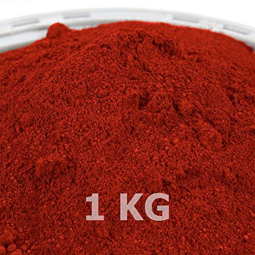 @tec Premium Pigmentpulver, Eisenoxid, Oxidfarbe - 1kg Farbpigmente/Trockenfarbe für Beton + Wand - Farbe: ziegelrot/rot/ziegel