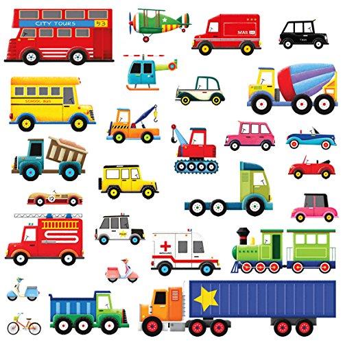 DECOWALL DW-1605 27 Transportes Vinilo Pegatinas Decorativas Adhesiva Pared Dormitorio Salón Guardería Habitación Infantiles Niños Bebés