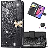 EMAXELER LG Stylo 6 Case Diamond Butterfly Embossing Soft Slim Shockproof Bookstyle Magnetic Retro PU Leather Flip Wallet Cover Case for LG Stylo 6 Crystal Butterfly Black SD