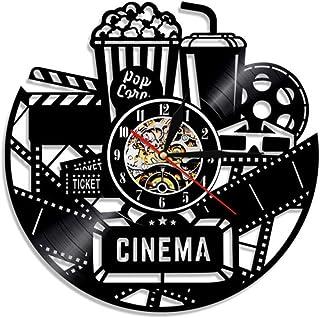 Cinema Vinyl Record Reloj de Pared Reloj de diseño Moderno Reloj de película Reloj de Pared Reloj de Tiempo Coca-Cola de Palomitas de maíz para Amante de películas Regalo @No LED