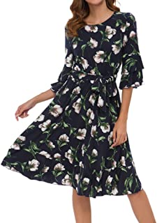 TrendyCosmo Womens Summer Dresses Casual Floral Wrap Round Neck Ruffles Short Sleeve Midi Dress with Belt