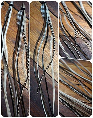 Lot de 6 plumes extensions Medium 20–28 cm Black & White