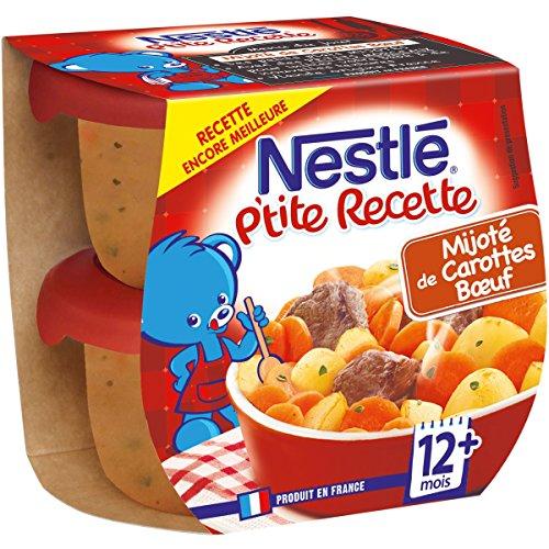 Nestlé Bébé P'tite Recette Mijoté de Carottes Bœuf - Plat complet dès 8 mois - 2 x 200g - Pack de 8 ( 16 Plats )