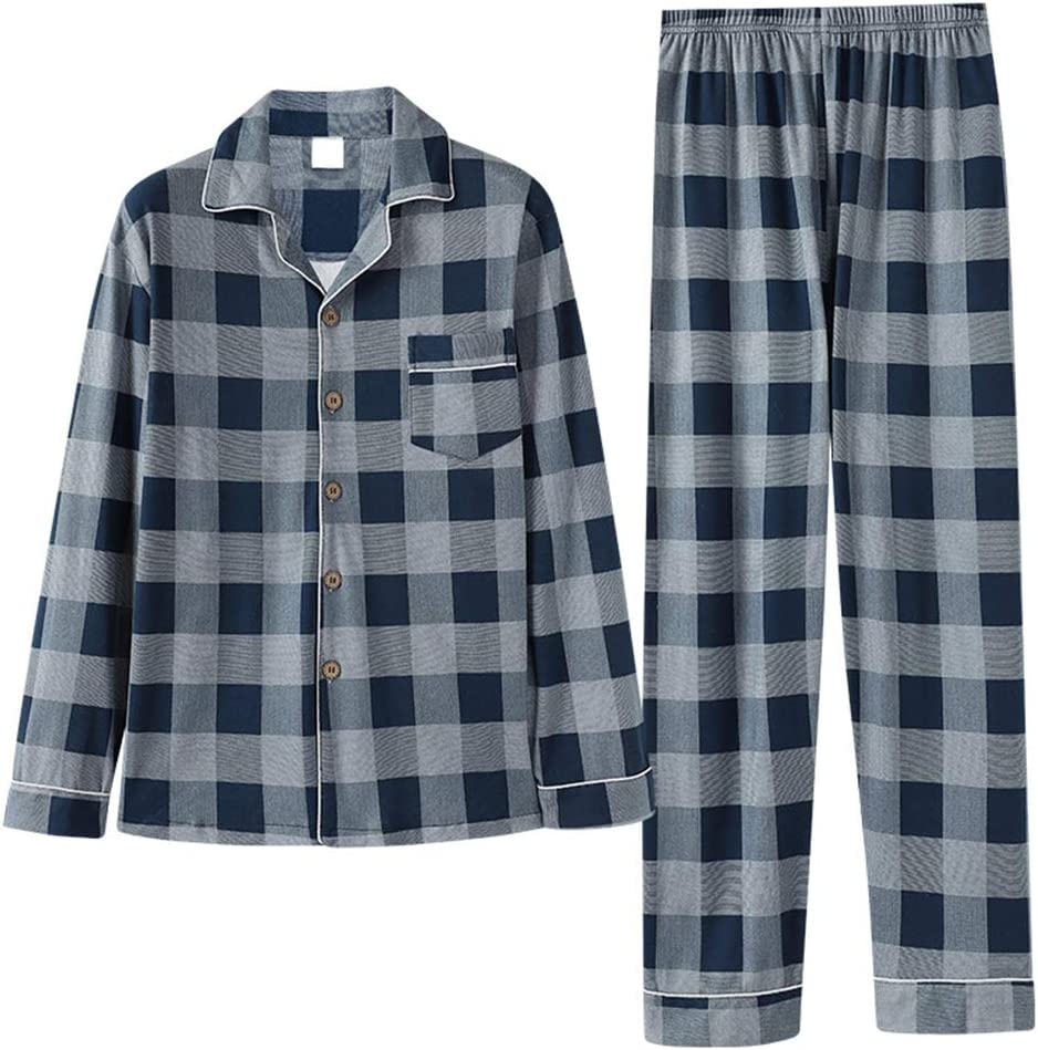 Simple Men's Long Sleeve Pajamas Set,Autumn Winter Lightweight Cotton Long Sleeve Trousers Plaid Sleepwear Suit,Loose Casual Homewear,Navy,XXL