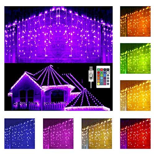 Hezbjiti Catena Luminosa Cascata Strisce, 5M/15.7Ft 160 Led Luci 16 Colori 4 Modalità IP44, Per Finestra Porta Patio Giardino Feste Natale Halloween Matrimonio
