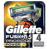 Gillette Fusion 5 ProGlide Power Cuchillas de Afeitar Hombre, Paquete de 4 Cuchillas de Recambio