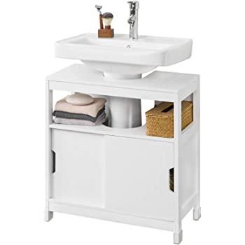SoBuy FRG128-II-W Mueble para Debajo del Lavabo Armario de Baño de Suelo 1 Estante y 2 Puertas Correderas 60 * 30 * 61 cm ES: Amazon.es: Hogar