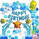 MMTX Geburtstagsdeko Blau Weiße Luftballon zum Jungs Baby Geburtstag Patry,Happy Birthday Banner mit Meer Tiere Delphin Schale Seestern Fisch Ballons für Mädchen Jungs Geburtstags Party Dekoration