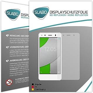 Slabo 2 x displayfolie för BQ Aquaris A4.5 skärmskyddsfolie tillbehör No Reflexion MATT – Made IN Germany