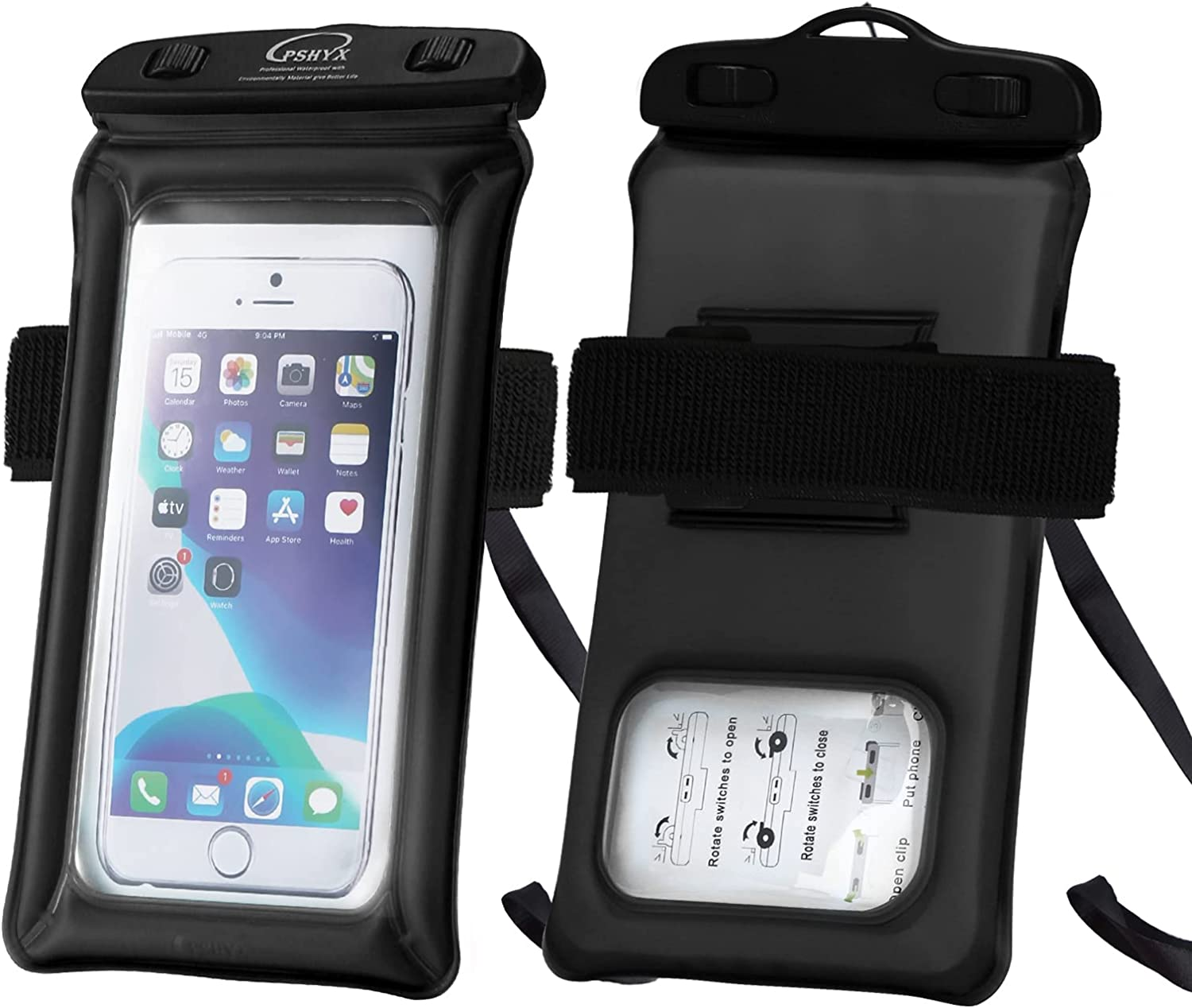 PSHYX TPU Floating Waterproof Phone Case,Cell Phone Dry Bag, Universal Waterproof Phone Pouch with Arm Band and Lanyard for iPhone 11 12 Pro Max xr 6 7 8Plus Samsung Galaxy S20 S20+ S10(Black,1pack)