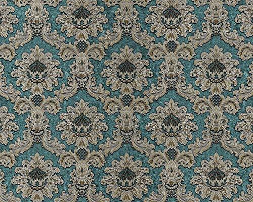 Barock Tapete EDEM 81206BR48 heißgeprägte Vliestapete mit Ornamenten schimmernd türkis blau-grün gold silber 10,65 m2