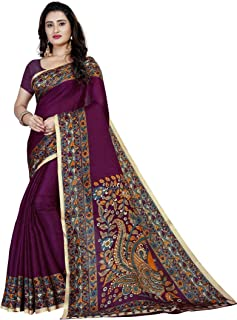VintFlea Women's Indian Printed Kalamkari Cotton Blend Saree,with Unstitched Frills Fabric Blouse Piece, Elegant Design, Bollywood Ethnic Party Wear Traditional, Purple (Free Express Shipping)