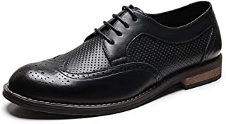 QinMei Zhou Brogue Carving Oxfords for Men Formal Shoes Lace up Microfiber Leather Wingtip Perforated Pointed Toe Waxed Laces Anti-Slip (Color : Black, Size : 6.5 UK)
