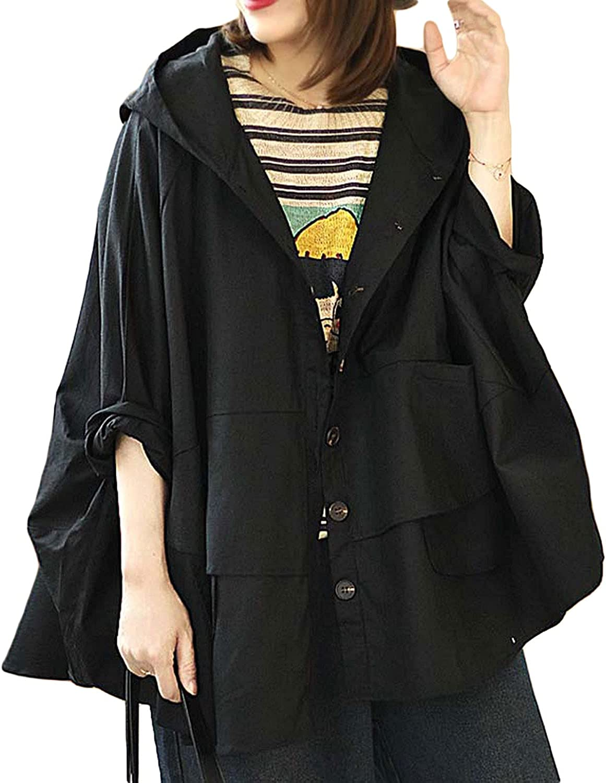 Aeneontrue Women's Button Down Hooded A-Line C Jackets cheap Online limited product Plus Size