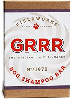 Fieldworks Supply Dog Shampoo Bar, Anti-Bacterial, Anti-Fungal, Organic. Relieves Hot Spots and Itching. Bentonite, and Shea Butter. Organic, 5.8 oz. GRRR Brand
