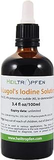 ルゴール液 100mL, 2%ヨウ素および4%ヨウ化カリウムで製造された。Lugol's Iodine Solution