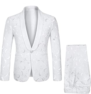 Men's 2 Piece Suits White Tuxedo 1 Button Shawl Collar Party Dinner Suit