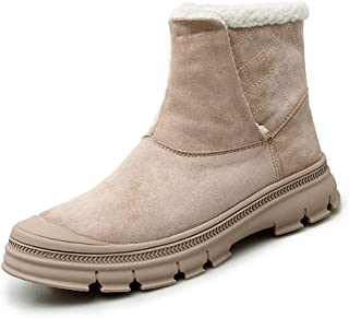 AiHua Huang Ankle Boots for Men Snow Booties Pull on Suede Rubber Sole Solid Color Collision Avoidance Toe Soft Wear-resisiting Fleece Lined (Color : Apricot, Size : 5.5 UK)