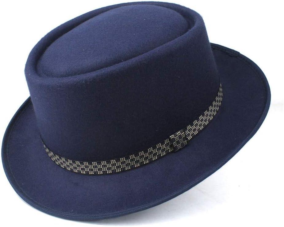 HXGAZXJQ Hxgang Men's Women's Pork Pie Hat Wool Flat Fedora Hat Pop Jazz Hat Size 58CM (Color : Dark Blue, Size : 58)