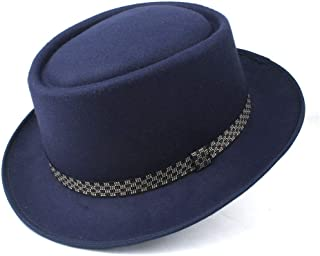 PengCheng Pang Men's Women's Pork Pie Hat Wool Flat Fedora Hat Pop Jazz Hat Size 58CM (Color : Dark Blue, Size : 58)