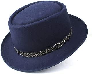 RongAi Chen Men's Women's Pork Pie Hat Wool Flat Fedora Hat Pop Jazz Hat Size 58CM