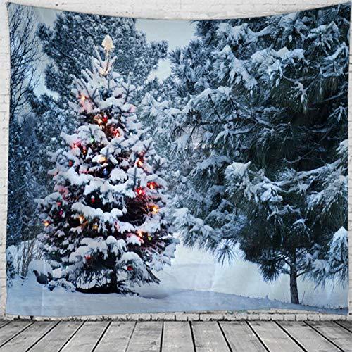 AdoDecor Tapiz de Navidad para Colgar en la Pared, Navidad, Nieve, decoración del hogar, tapices con Estampado de árboles de Navidad, 150x200 CM