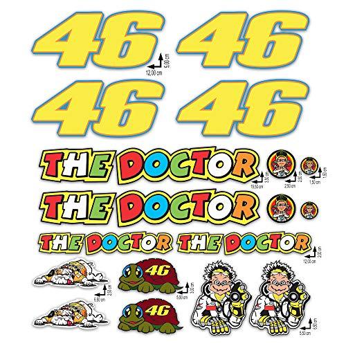 GamesMonkey Kit Adesivi Stickers Valentino Rossi The Doctor 46 Logo Pannello Intero 18 pezzi Offerta motorino Moto Casco Motocicletta