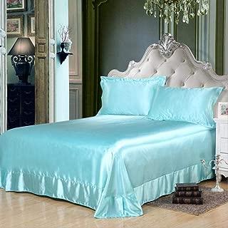 cama 150,1 / 3pcs Color sólido Textiles para el hogar Sábanas planas de plata gris Ropa de cama de seda imitada Sábanas Fundas de almohada para Twin Queen King Size-si_230 x 250 cm 1 piezas