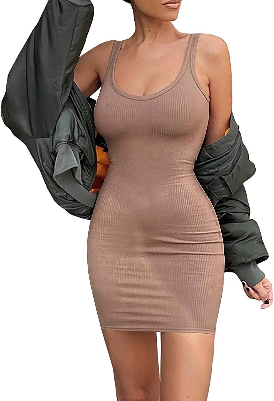 Jauoop Women Summer Tank Dresses Ribbed Scoop Neck Bodycon Mini Dress Sexy Club Dress