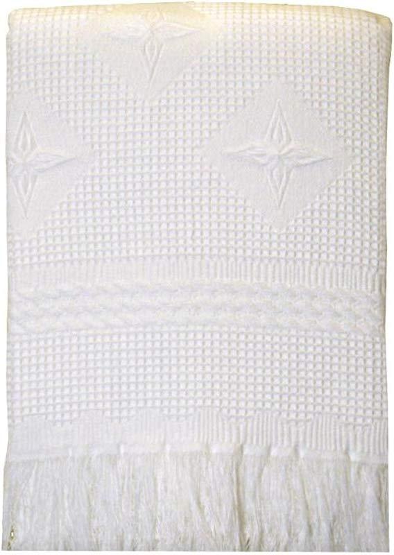 BabyPrem Baby Large Soft White Acrylic Stars Shawl Blanket 48 X 48 WHITE