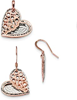 Sterling Silver and Rose-tone Heart Earrings And Pendant Set