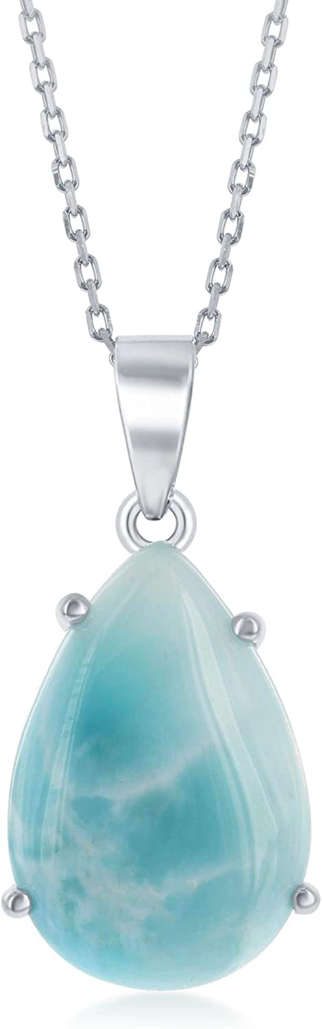 Pear-Shaped Four-Pronged Caribbean Natural Discount Max 68% OFF is also underway Larimar Ster Gemstone