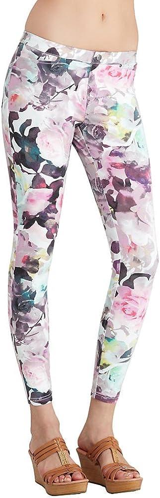 HUE Super Smooth Floral Denim Leggings, S, Sweet Lilac