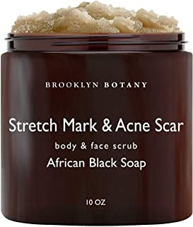 Brooklyn Botany Stretch Marks & Acne Scars Body Scrub & Face Scrub - Stretch Marks Remover Made With African Black Soap Shea Butter & Coconut Oil - Exfoliate & Moisturize, Dry & Irritated Skin - 10 oz