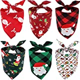 SATINIOR 6 Pieces Dog Christmas Scarf Christmas Dog Bandana Santa Claus Plaid Bandanas Triangle Bibs Scarfs for Pet Costume Accessories