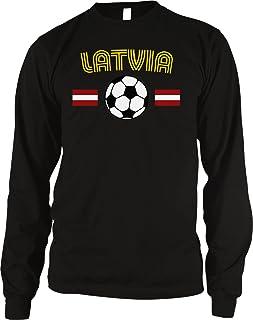 Amdesco Latvia Soccer/Football and Flag Men's Long Sleeve Thermal Shirt