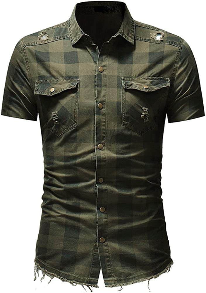 DIOMOR Men's Classic Plaid Short Sleeve Button Down Shirts with Pockets Casual Fashion Slim Fit Lapel Tees Tops Blouse